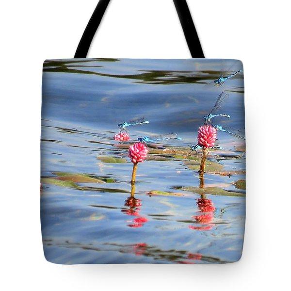 Damselflies On Smartweed Tote Bag by Michele Penner