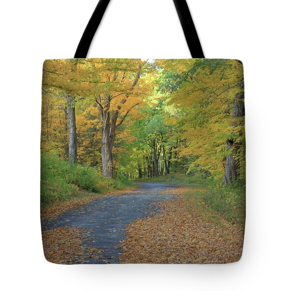 Dana Common Road In Autumn Quabbin Reservoir Tote Bag by John Burk
