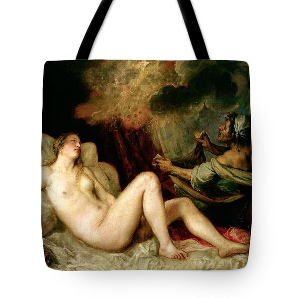 Danae Receiving The Shower Of Gold Tote Bag by Titian