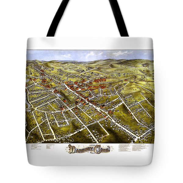 Danbury Connecticut 1875 Map Tote Bag