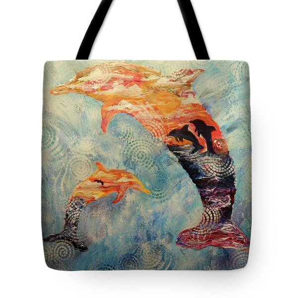 Dance At Dawn Dolphin Tote Bag
