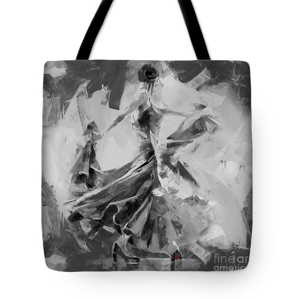 Tote Bag featuring the painting Dance Flamenco 01 by Gull G
