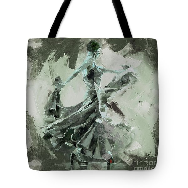Tote Bag featuring the painting Dance Flamenco Art  by Gull G