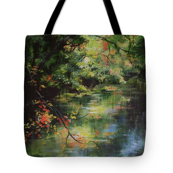Dance Of Color And Light Tote Bag by Mary Wolf