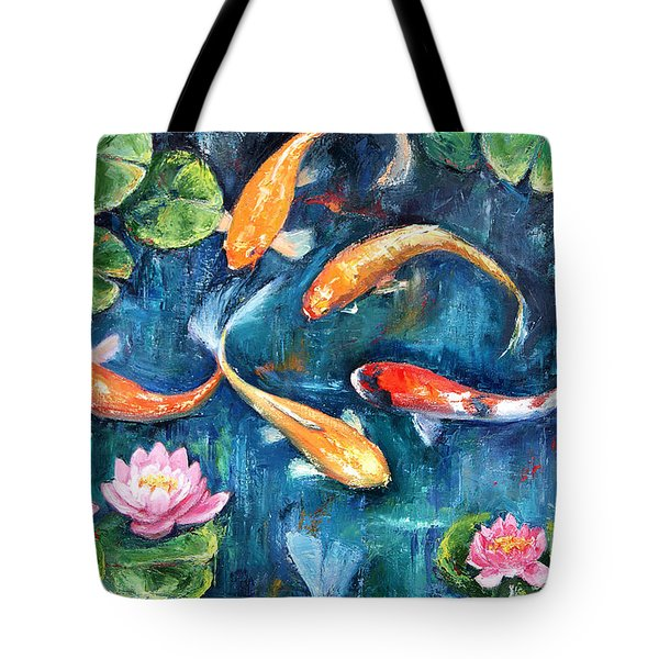 Tote Bag featuring the painting Dance Of The Koi by Jennifer Beaudet