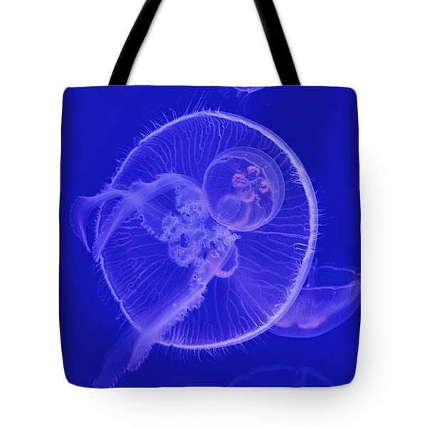 Tote Bag featuring the digital art Dance With Jellyfish by Leo Symon