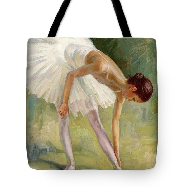 Dancer Adjusting Her Slipper. Tote Bag