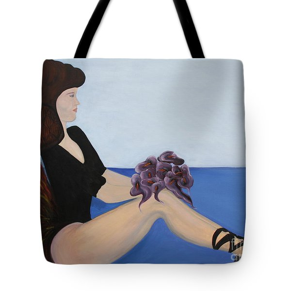 Tote Bag featuring the painting Dancer With Calla Lillies by Jolanta Anna Karolska