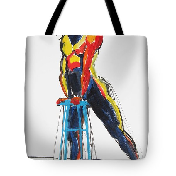 Tote Bag featuring the painting Dancer With Drafting Stool by Shungaboy X