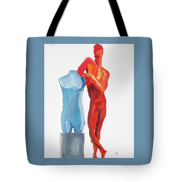 Tote Bag featuring the painting Dancer With Mannekin by Shungaboy X