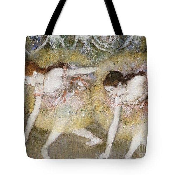 Dancers Bending Down Tote Bag