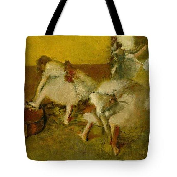 Dancers In The Green Room Tote Bag by Edgar Degas