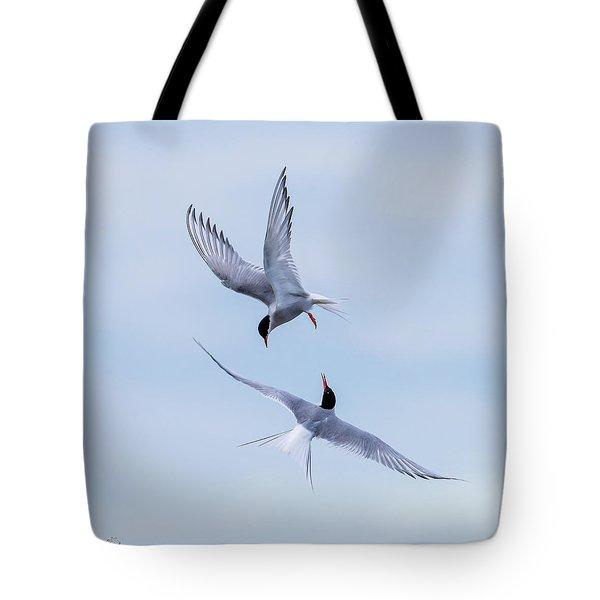 Dancing Arctic Terns Tote Bag