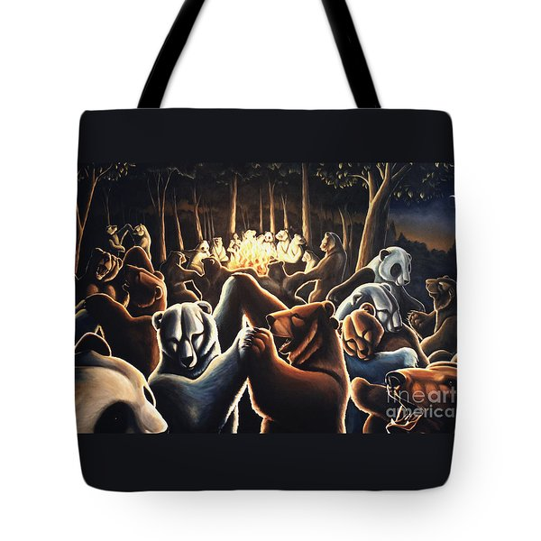 Dancing Bears Painting Tote Bag by Kim Hunter