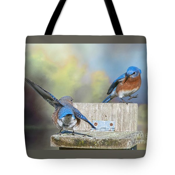 Dancing Bluebirds Tote Bag