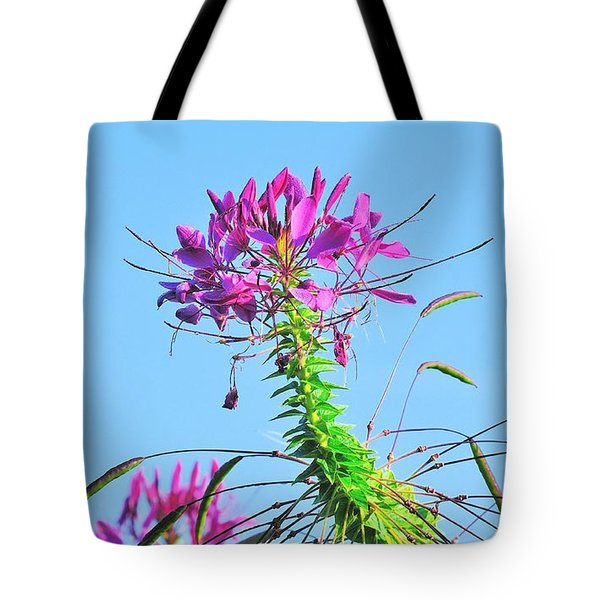 Tote Bag featuring the photograph Dancing Cleome by Debbie Stahre