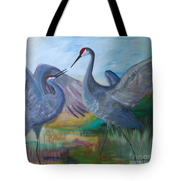 Dancing Cranes Tote Bag