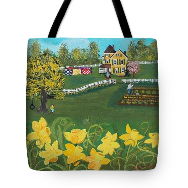 Tote Bag featuring the painting Dancing Daffodils by Virginia Coyle