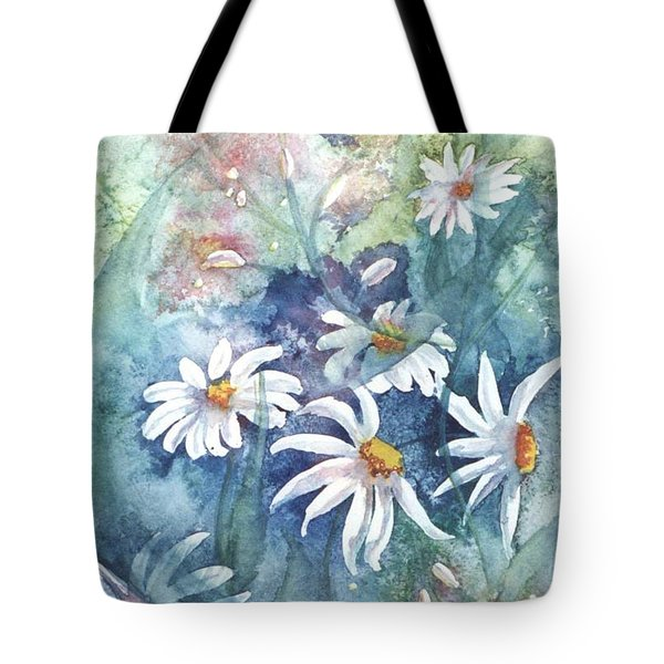Tote Bag featuring the painting Dancing Daisies by Renate Nadi Wesley