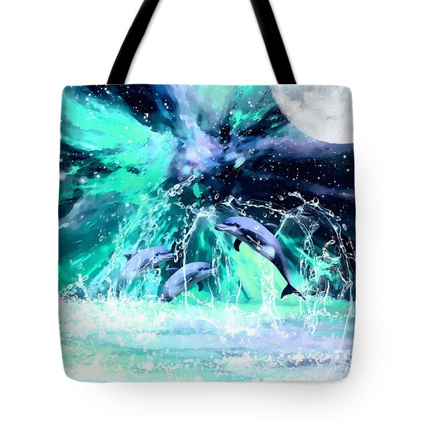 Dancing Dolphins Under The Moon Tote Bag