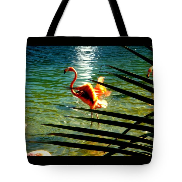 Dancing Flamingo Tote Bag by Yolanda Rodriguez