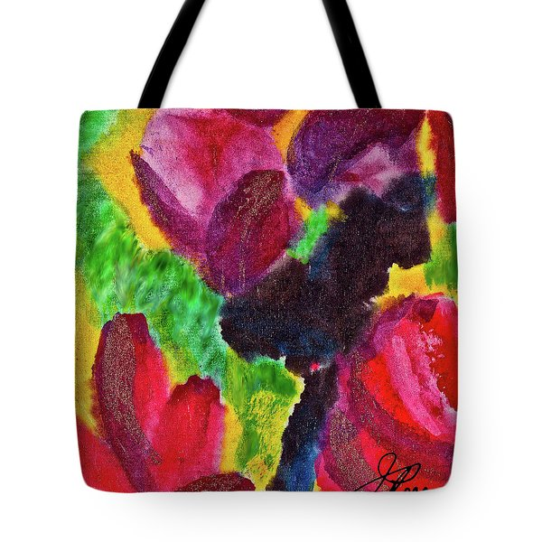 Tote Bag featuring the painting Dancing Flowers by Joan Reese