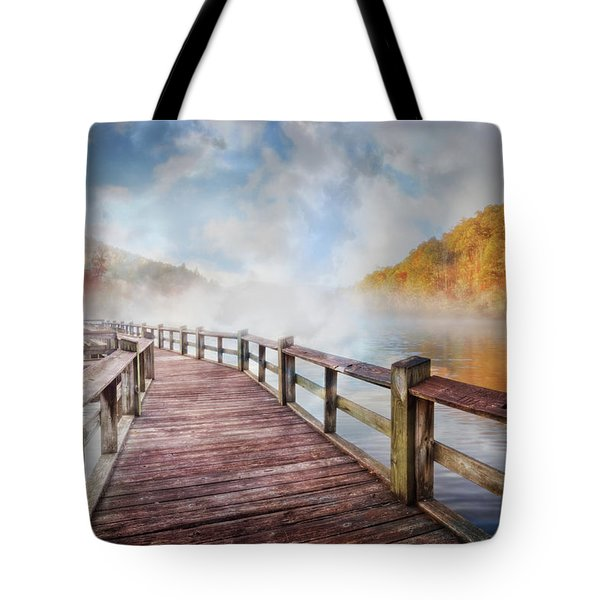 Tote Bag featuring the photograph Dancing Fog At The Lake by Debra and Dave Vanderlaan