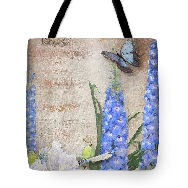 Dancing In The Wind - Damselfly N Morpho Butterfly W Delphinium Tote Bag
