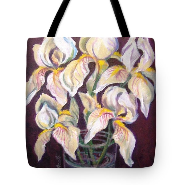 Tote Bag featuring the painting Dancing Iris by Laura Aceto