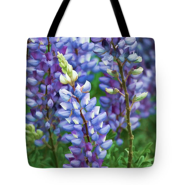 Tote Bag featuring the photograph Dancing Lupines - Spring In Central California by Ram Vasudev