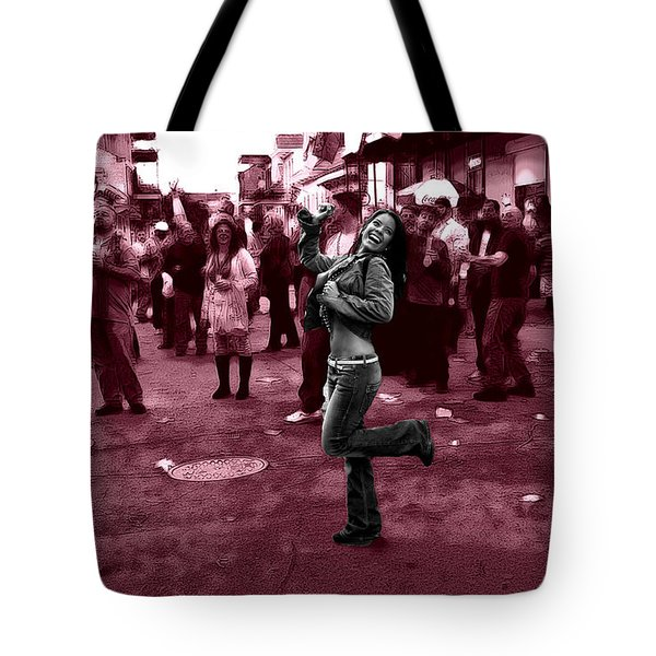 Dancing On Bourbon Street Tote Bag by John Rizzuto