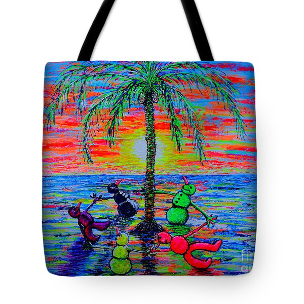 Tote Bag featuring the painting Dancing Snowman by Viktor Lazarev