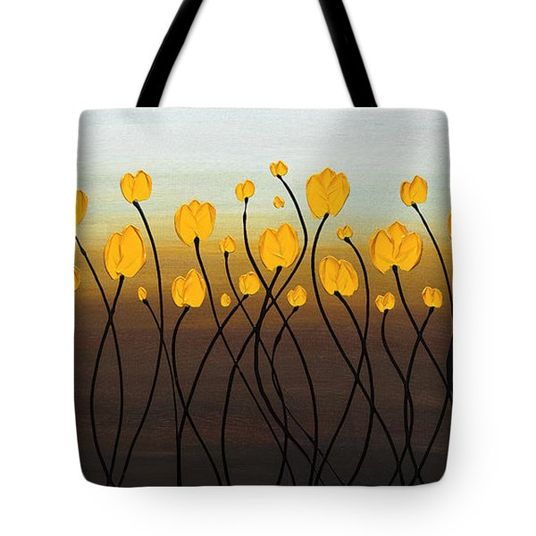 Tote Bag featuring the painting Dancing Tulips by Carmen Guedez