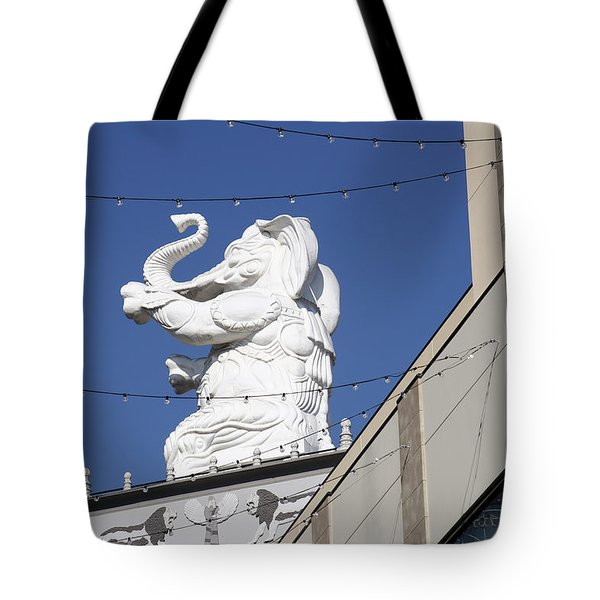 Dancing White Elephant Tote Bag