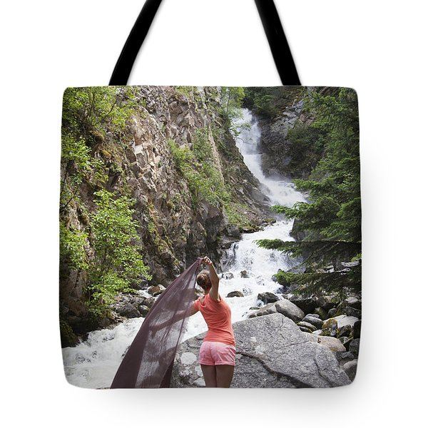 Flying By The Waterfall Tote Bag