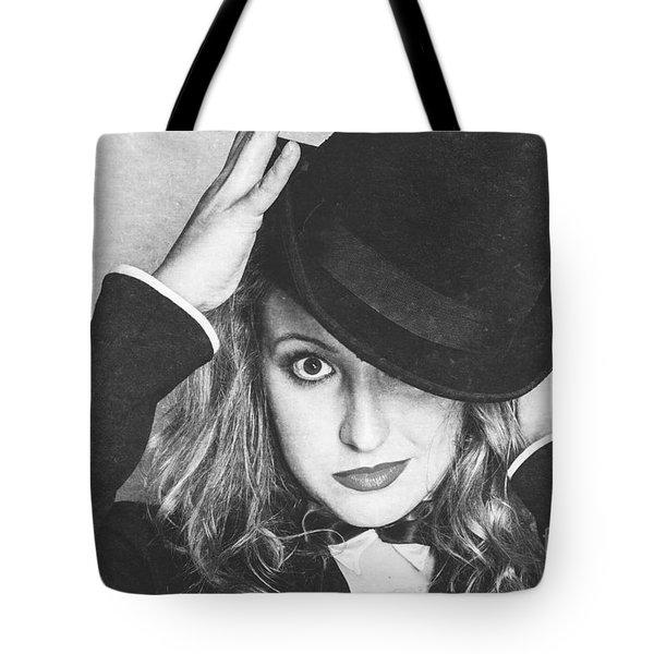 Dancing Woman Wearing Retro Theatre Hat Tote Bag