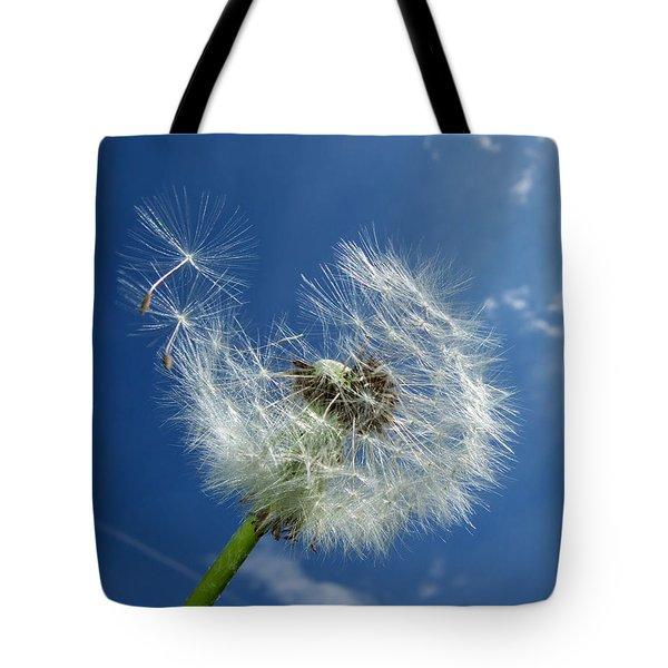 Dandelion And Blue Sky Tote Bag