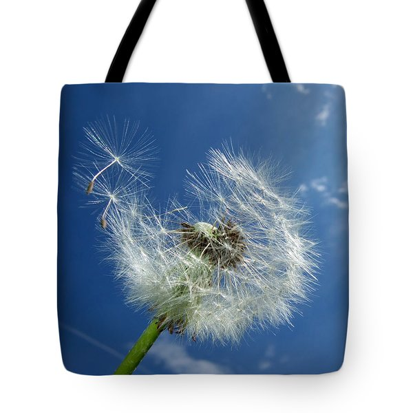 Dandelion And Blue Sky Tote Bag