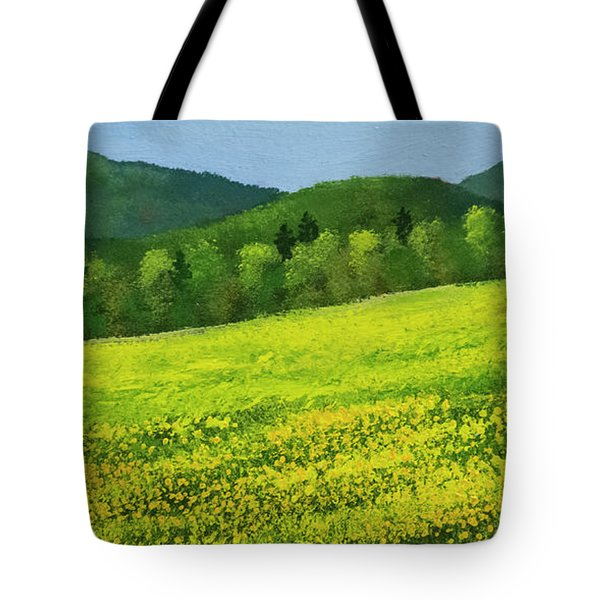 Tote Bag featuring the painting Dandelion Bloom by Frank Wilson