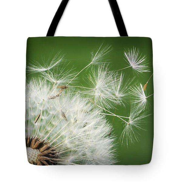 Tote Bag featuring the photograph Dandelion Blowing by Bess Hamiti
