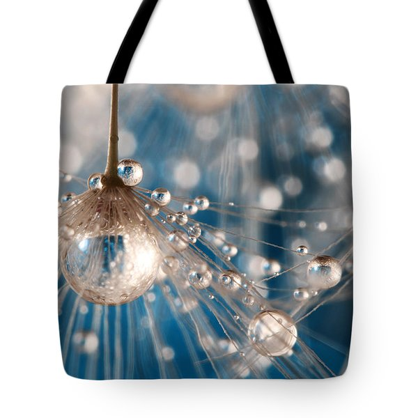 Tote Bag featuring the photograph Dandelion Blue Sparkling Drops by Sharon Johnstone