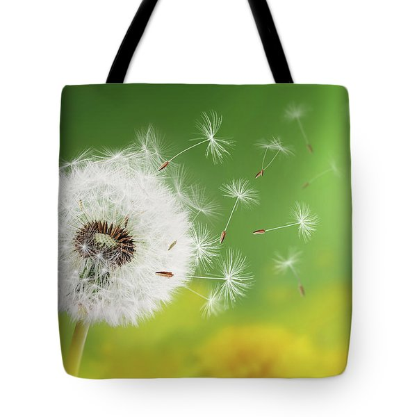 Tote Bag featuring the photograph Dandelion Clock In Morning by Bess Hamiti
