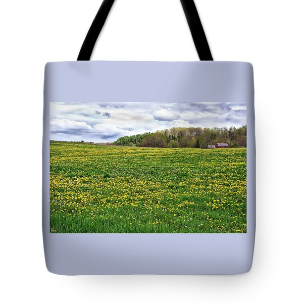Dandelion Field With Barn Tote Bag