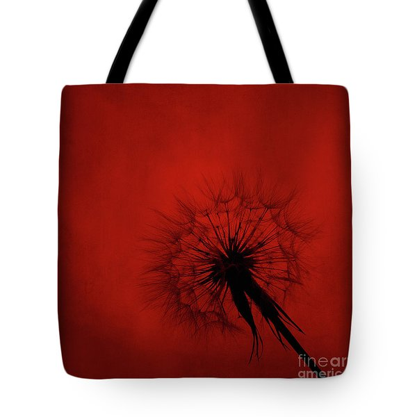 Dandelion Silhouette On Red Textured Background Tote Bag