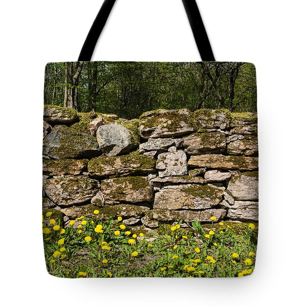 Tote Bag featuring the photograph Dandelions At Mossy Stone Wall by Kennerth and Birgitta Kullman