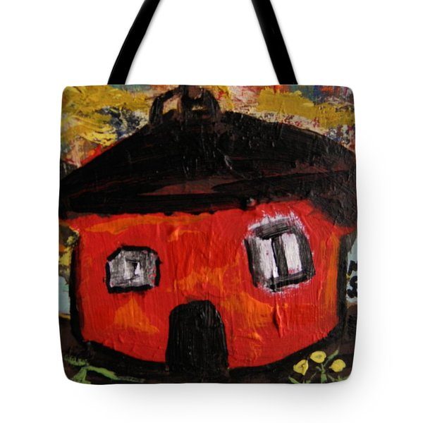 Tote Bag featuring the painting Dandelions By Red Barn By Mcw by Mary Carol Williams