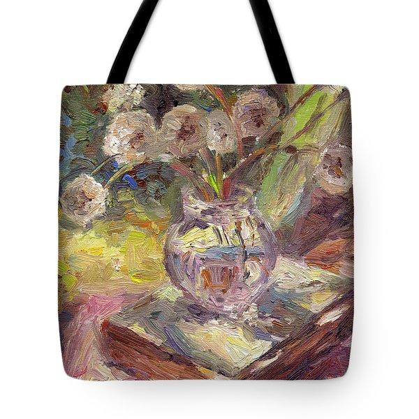 Dandelions Flowers In A Vase Sunny Still Life Painting Tote Bag by Svetlana Novikova