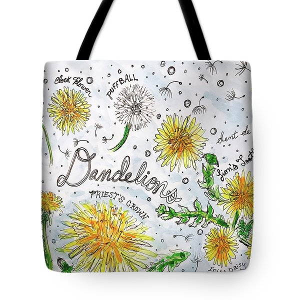 Tote Bag featuring the painting Dandelions by Monique Faella
