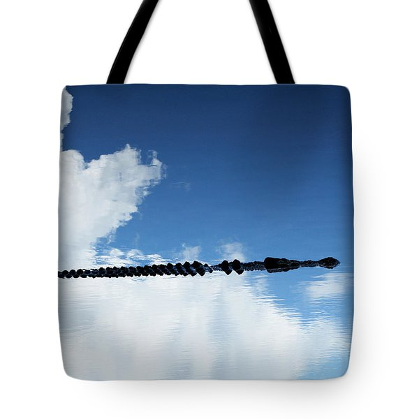 Tote Bag featuring the photograph Dangerous Reflection Saltwater Crocodile 2 by Gary Crockett