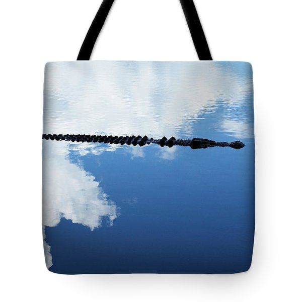 Tote Bag featuring the photograph Dangerous Reflection Saltwater Crocodile by Gary Crockett
